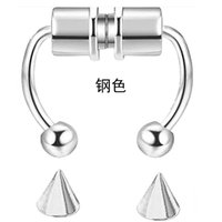 Septum Fakes Nose Rings Horseshoe Nose Rings Hoops 316L Stainless Steel Reusable Nose Cuff Non Piercing for Women Men Steel with Re 2678 Q2