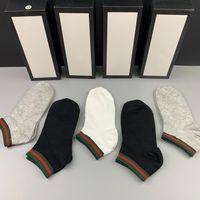 Moda Marka Baskı Çorap Erkek Bayan Saf Pamuk Ayak Bileği Kısa Çorap Kutusu Tasarım Hosiery Nefes Açık Eğlence Saf Renkli Mektup Çorap