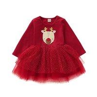 Euro Amerikanische Mädchen Baby Kleidung Glückwild Rote Kleider Weihnachten Kinder Kleidung Casual Mesh Patchwork Kleid