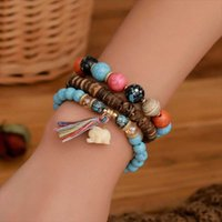 Tennis 3Pcs set Natural Coconut Shell Bracelet Rainbow Beads Lucky Elephant Pendant Chain Bracelets Tassel Boho Female Pulsera Jewelry