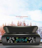 Universal TPMS Wireless Tire Pressure Monitoring System Solar Power Clock LCD Display 4 External Sensor Tire Pressure Sensors