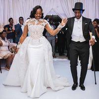 Африканский плюс размер 2021 атлас свадебные платья с съемным поездом Высокое шею Кружево-аппликации с длинным рукавом Русалка свадебные платья Vestidos