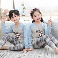Осень зима девочка одежда Pajamas устанавливает Bosy Pajamas детей домашняя одежда хлопка ночная одежда детская крытая одежда Pijamas костюм 211013