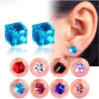 Fashion Korean Stud Earring Healthcare Magnet Crystal Strong Magnetic Non Pierced Earrings For Women Men