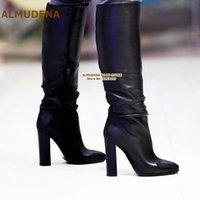 Almudena Black Matte Chunky Ferse Knie Hohe Stiefel Frauen Elegant Dicke Heels Lange Stiefel Gladiator Kleid Schuhe Dropshi Pumps Größe47 Y9MI #