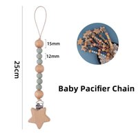 Baby Pacifier Chain Clips Holders Pacifiers Infant Feeding Natural Wooden Silicone Teething Beads Accessory Newborn Teeth Practice Toys Teether B8902