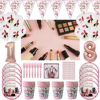 Disposable Dinnerware Cosmetics Beauty Theme Party Decoration Lipstick Balloon Girl's Day Spa Makeup Supply Paper Cup Plate Happy Birthday