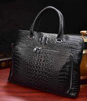 Briefcases Luufan Crocodile Pattern Men's Briefcase Genuine Leather 14 Inch Laptop Bag Male Business Handbag Cowhide Office Bags For Men