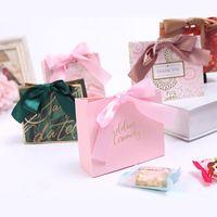 Grazie per l'imballaggio Borsa da regalo Bianco Kraft Paper Piccola borsa con nastro per matrimonio festa di compleanno favori