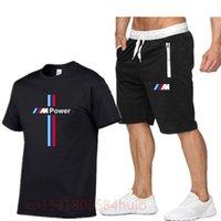 Sommer 2021 Reine Baumwolle Herren Spaß Lässig Kurzarm Solide Farbe Rundhals Hip Hop T-Shirt Sport Top + Shorts 2-teiliges Set L0309