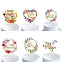 Pastel de boda Topper Colorido Floral Acrílico Cake Topper Pastel de cumpleaños Boda Día de San Valentín Día de la Madre Decoración DHE5023