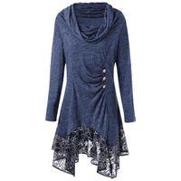 Casual Dresses 2021 Blue Lace Patchwork Irregular Hem Autumn Dress Women Retro Pile Collar Button Ladies Leisure Daily Vestidos