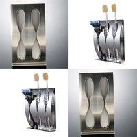 Vente en gros - Support de brosse à dents en acier inoxydable 2,3 trous brosse à dents auto-adhésifs Organisateur Boîte de salle de bain Accessoires 554 R2