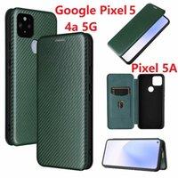 Handy Pouches Kohlefaser für Google Pixel 4A 5G Hülle Magnetische Buchständer Flip Card Schutzhörer Leder 5 5A 4 XL Cover