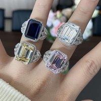 HBP fashion luxury 2021 new high carbon Diamond Sterling Silver 10 * 14 emerald cut 925 popular women's Ring