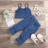 Children Sets Kids Baby Girls Outfits Summer Denim Off Shoulder Cropped Tops+Belt Long Pants Set Casual Clothing