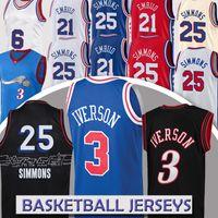 Allen 3 Iverson Joel 21 Embiid Men 's Basketball Jersey Retro Jerseys Ben 25 Simmons Camisetas De Baloncesto Basketball Jerseys 2021