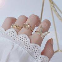 Joyería delicada 14k Flor de oro real Cristal mariposa Anillos abiertos para mujeres Simple Style Cubic Circon Cordón Anillos de compromiso