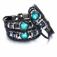 Nuovi semplici 12 costellazioni Braccialetto della coppia in rilievo di un braccialetto di cuoio per uomo e donne di perline