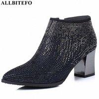 Allbitefo Natürliche Echtes Leder Frauen Stiefel Wasser Bohrer Dekoration Bequeme Knöchelstiefel Herbst Winter Mode Y9o5 #