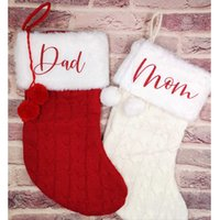 Personalized Name Knitted Christmas Stocking Candy Gift Bags Holder Lager Socks Tree Ornaments Xmas New Year Kids H0924
