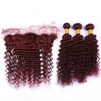 موجة عميقة # 99J عنابي الشعر البشري 3 حزم مع الدانتيل أمامي إغلاق 13x4 النبيذ الأحمر الماليزي الشعر البشري ينسج مع كامل الرباط أمامي
