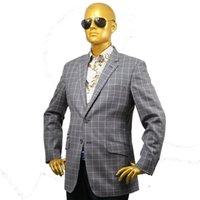 Herrenanzüge Blazers Custom Tailor gemacht maßgeschneiderte maßgeschneiderte formale Hochzeitsware 2 Stück Jacke Mantel Hose graue Fenster Plaid Wolle
