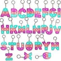 26 문자 숫자 감각 fidget 장난감 팝 버블 냄새 키 링 알파벳 모양 푸시 거품 포퍼 보드 키 체인 손가락 퍼즐 매력 넥타이 염료 D104