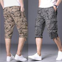 Pantalones cortos de carga de verano hombres diseño casual impresión pantalones cortos para hombres multil-bolsillo longitud corta pantalones cortos hombres