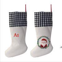 Sublimation Vierfarbige Plaid Weihnachten Strumpf Leinen Streifen Blank DIY Santa Claus Socke Geschenk Taschen Süßigkeiten Tasche Weihnachtsbaum Dekoration EWB9417