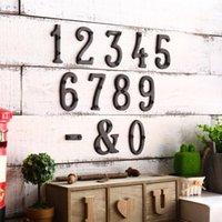 참신 항목 추가 대형 레트로 숫자 0-9 주철 금속 DIY 하우스 번호 장식 야외 사서함 스크류 장착