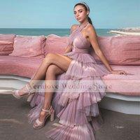 Pink Tiered Tulle Prom Dress High Low 2022 Halter Neck Celebrity Evening Gowns Custom Made robe de soirée de mariage