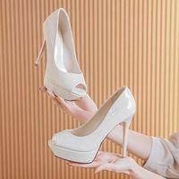 Dress Shoes Spring Autumn 2021 Women Pumps Bridal Wedding Party Peep Toe Thin High Heels Designer Ladies Office Slip-On K0028