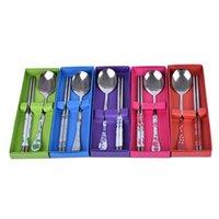 1セット中国の箸スプーンフォークステンレス鋼の再利用可能なキッチンスティック子供の贈り物のためのパーソナライズされたパターン