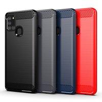 Sağlam kalkan darbeye dayanıklı sot tpu fırçalanmış karbon fiber telefon kılıfları Samsung A41 A31 A21 A21S A11 A70E A80 A90 A81 A91 M31 M51
