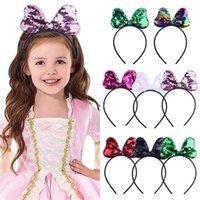 Moda Lentejuelas Pure Color Bebé Niñas Arco Horquillas Sirena Glitter Bowknot Hoops Pelo Hoops HairBanda Accesorios para el cabello Diadema Pelo Wraps GG32H3WW