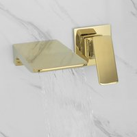 Wall Mounted Waterfall Bathroom Sink Faucets Sold Brass Luxury Polish Gold Basin Water Faucet Hot & Cold Black Rose Brushed