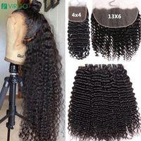 Human Hair Bulks Deep Wave Bundles With 13X6 HD Lace Frontal Brazilian 30 Inch Curly Water Closure