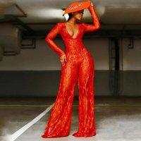 Женские комбинезоны Rompers 2021 Spring Sexy Seept Titchy V-образные шеи цельные блестки красные брюки пламени мода клубная улица