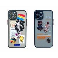 Fashion Astronaut Skin Feel Custodia per cellulare per iPhone 12 Mini 11 Pro XS Max XR x 8 7 Plus 6 6S Hard PC PC Plastica Soft TPU Trasparente Trasparente Spazio colorato Spazio Back Coperture