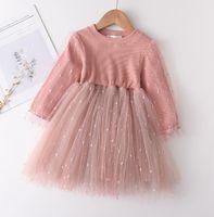 Örgü Prenses Elbise Gazlı Bez Etek Kabarcık Kollu Elbise Kızlar Uzun Kollu Tül Etekler Tutu Çocuk Tasarımcı Giysileri Batı Tarzı WMQ572