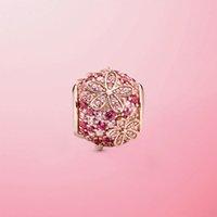 جودة عالية حقيقي 925 فضة الغزل الوردي تمهيد ديزي زهرة سحر الخرز صالح الأصلي باندورا سوار مجوهرات هدية Q0531