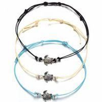 Böhmische Schildkröte Fußkettchen Armband Set Geflochtene Seile Dekorative Strandschmuck für Frauen und Mädchen 3 Stück