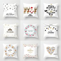 Cushion Decorative Pillow Christmas Decorative Pillowcases Polyester Merry Santa Claus Throw Case Cover Elk Cushion Peach Skin