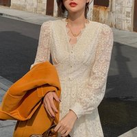 Casual Dresses Elegant Lace Long Sleeve Midi Dress Winter White Women V-neck Korean Spring One-piece Evening Lady Party Fairy 2021