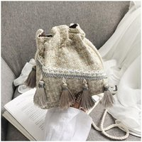 Shoulder Bags Ethnic Style Tassel Bucket Bag 2021 Mini Plaid Woven Messenger Women's Fashionable Purses