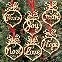 عيد الميلاد إلكتروني الخشب الكنيسة القلب فقاعة نمط زخرفة شجرة ديكورات المنزل مهرجان الحلي شنقا هدية OWE9243