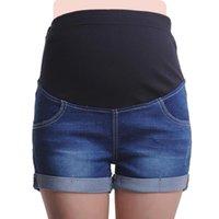 Verano embarazadas mujeres ajustables cortos de mezclilla espectáculo de moda pantalones de vientre delgados use agua lavado azul pantalones vaqueros de maternidad