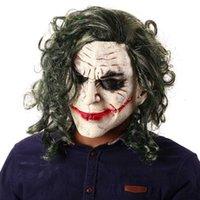 Косплей Джокер темная маска фильма рыцарь Бэтмен ужас страшный клоун маска с зелеными волосами парик Хэллоуин латексная маска вечеринка вечеринка костюм