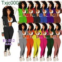 Frauen Trainingsanzüge Zwei Teile Set Designer Outfits Slim Sexy Koreanische Samt Rib Nähen Reißverschlussjacke Baseball Mantel Sweatpants 72 Arten